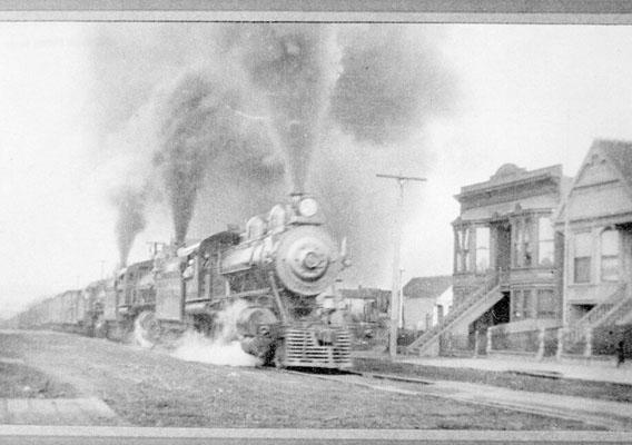 3 Engine Freight Train on Harrison St. near 21st. St. 1905